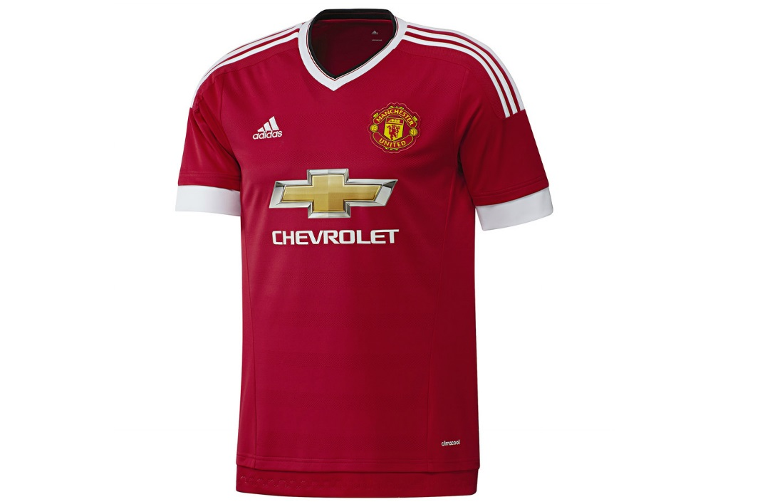 989376c5 15/16 Home Shirt. Front of the new United shirt featuring a white V-neck  collar and white hemmed sleeves (Manchester United FC)